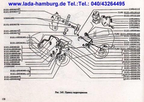 Explosionszeichnung/ Skitze Bremsleitungen Niva 1600 ccm, 2121