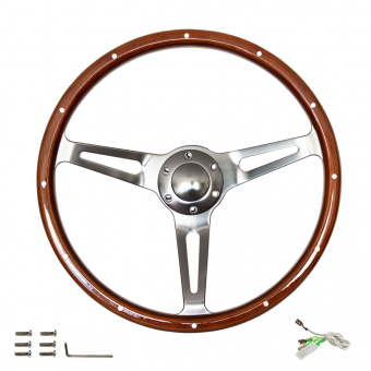 Grand volant en bois et chrome vintage, rayons en aluminium 38cm