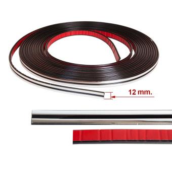 Chromleiste, Tuning, Zierleiste, Leiste, selbstklebend 5mm/ 12mm breit, doppelt 8m lang für Innenraum und Karosserie