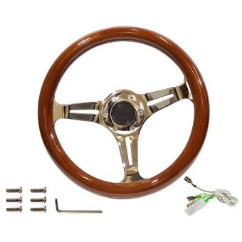 Vintage wood and chrome steering wheel, 33cm