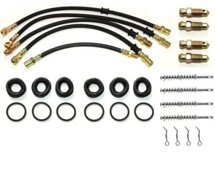 Bremse Reparaturkit: Bremsschlauch + Stifte + Manschetten+ Ventil hinten, Lada Niva