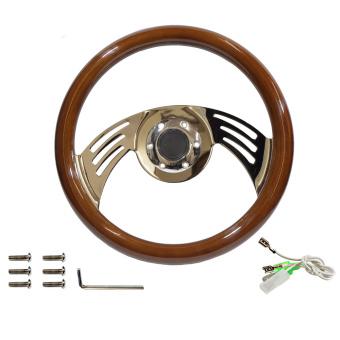 Vintage wood and chrome steering wheel, 35cm