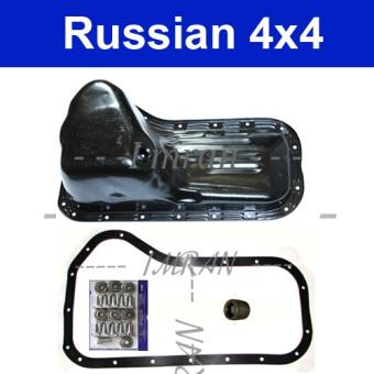 Repair kit for oil pan: Oil pan, gasket, drain plug for Lada Niva 2121, 21213, 21214