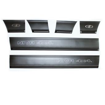Türleisten Gummileisten Rammschutzleisten mit Aufschrift Niva 4x4 für Lada Niva mit 3 Türen